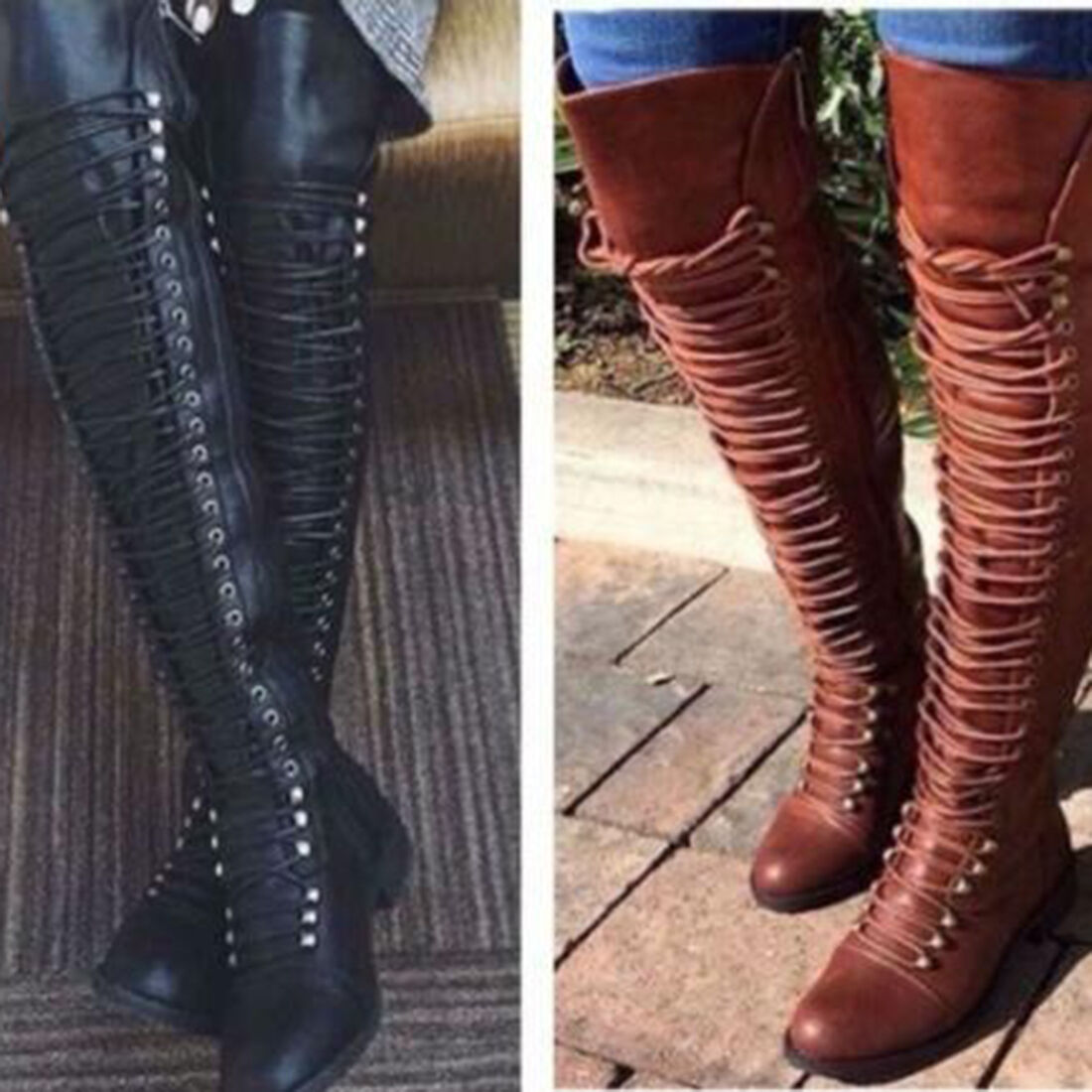 Fashion Women Boots Punk Over Knee Party Shoes Low Heel Bandage Lace-up Boots