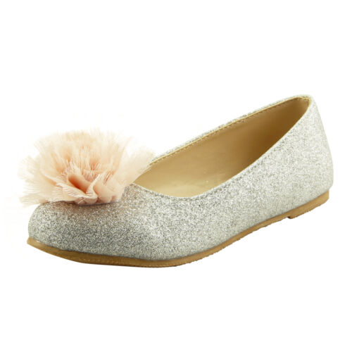 Princess Girl/'s Slip On Dress Shoes Glitter Chiffon Flowers Topper Little Kids