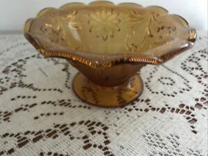 TIARA-glass-sandwich-AMBER-bowl-footed-6-1-2-across