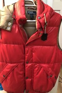 Polo Ralph Lauren New M Hooded Down Puffer Jacket Vest Red ...