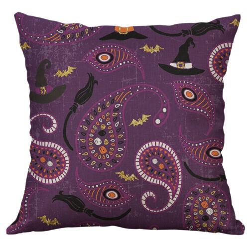 """18/"""" Halloween Owl Print Cushion Cover Cotton Linen Pillow Case Sofa Home Decor"""