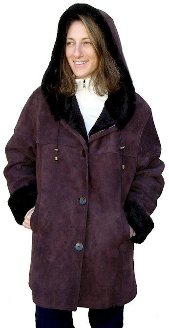Ladies Hooded Shearling Coat, size XL