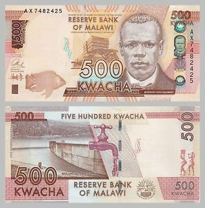 Tireless Malawi 500 Kwacha 2014 P66 Unz Waterproof Shock-Resistant And Antimagnetic