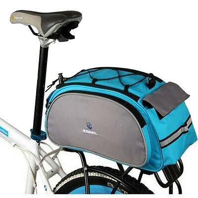 Multi function Bicycle Bag Bike Rear Seat Carrier Basket Rack Pannier 13L Blue