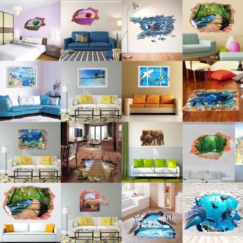 3D Hot Fenêtre Murale Sol Autocollant Mural Autocollant Amovible Vinyle Art Home À faire soi-même Decor