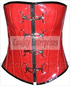 b52cd1089072d New Full Steel Boned Sexy Overbust Gothic Dominatrix Fetish Red PVC ...
