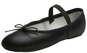 Leather-Ballet-Shoes-Full-Sole-with-Attached-Elastics-Black