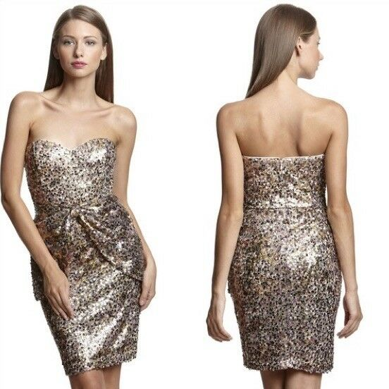 395 Mark James Badgley Mishka lila guld Multi Sequin Bow Strapless Dress