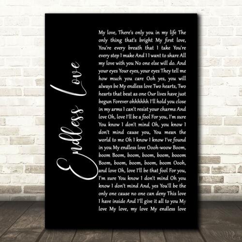 Endless Love Black Script Song Lyric Quote Print