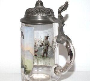 Antiker-Glas-Bierkrug-BIRKHAHNBALZ-mit-Jaeger-Zinn-Montierung-19-Jhd