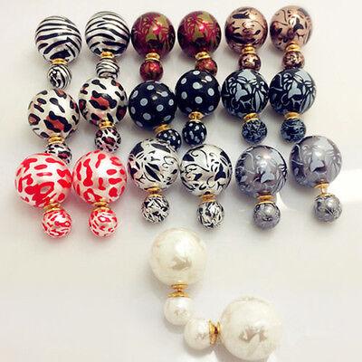 Double Faced Big Pearl Earrings Elegant Women Statement Two Bead Leopard