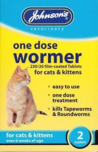 Johnsons-Vet-Une-Dose-Chat-Chaton-danse-Comprime-traitement-l-039-ASCARIDE-amp-Ver
