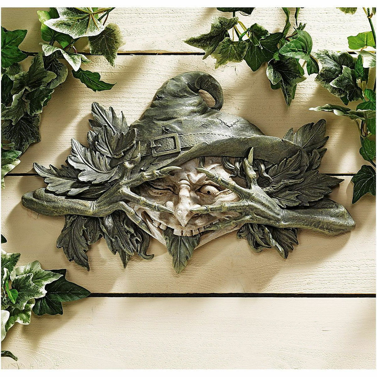 Folklore Leafy Mystical Forest Tree Shape Shifter Witch Grünman Wall Sculpture