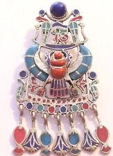 Amulet of Tutankhamun .925 Silver Pendant inlaid with stones (Hallmarked)(Small)