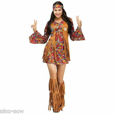 Women's 60s 70s Flower Hippie Costume Ivana Gogo Fancy Dress Peace Love