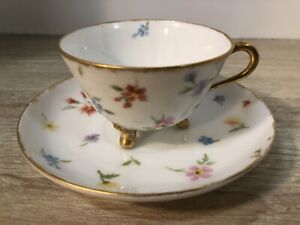Vintage-Demitasse-Cup-and-Saucer-Hand-Painted-Flower-Footed-Cup-Gold-Trim