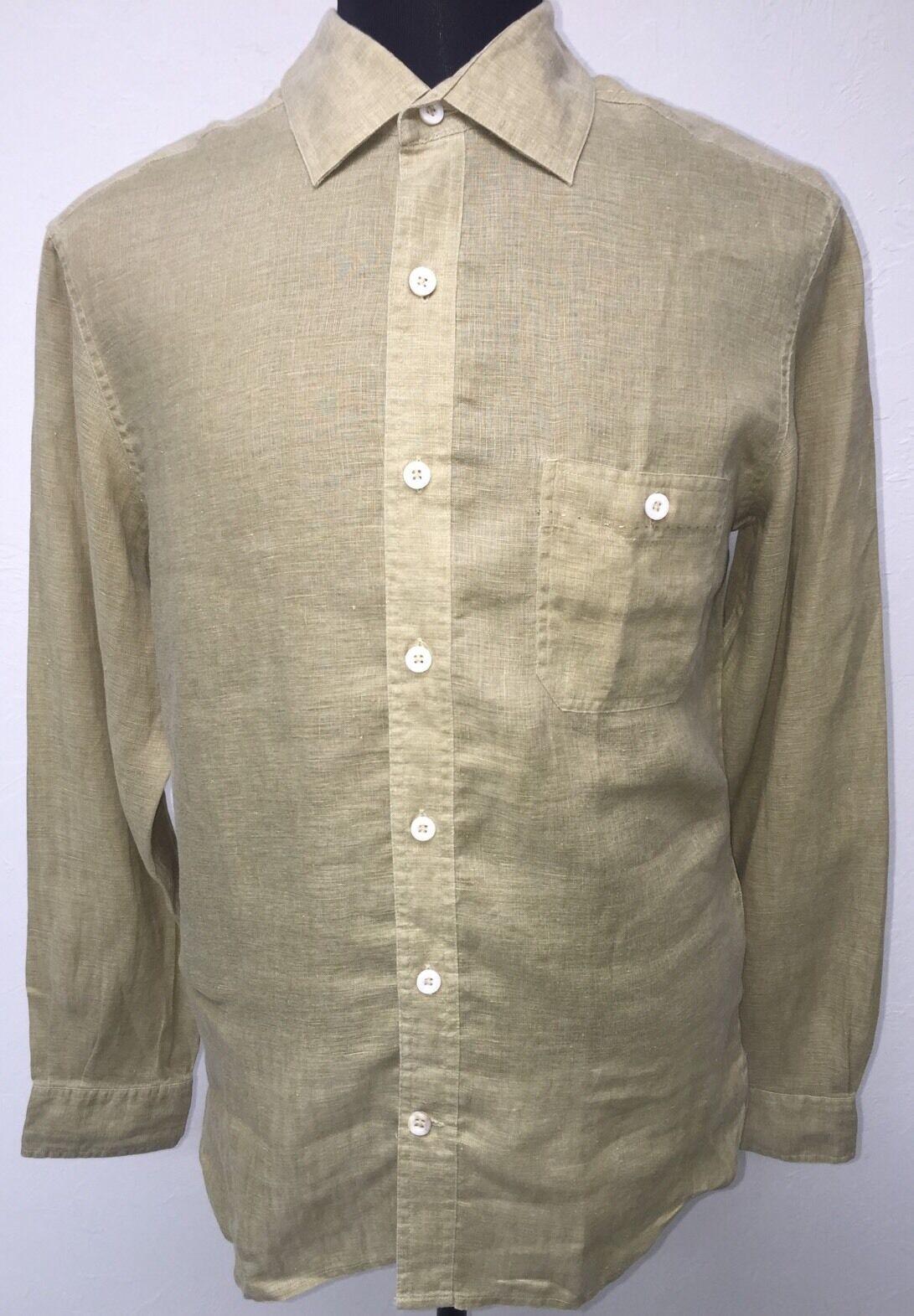 NAT NAST Linen Long Sleeve Shirt Size M Medium Green