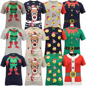 54bd9e425b70 Mens Christmas T Shirt Ho Ho Ho Xmas Emoji Santa Claus Elf Reindeer ...