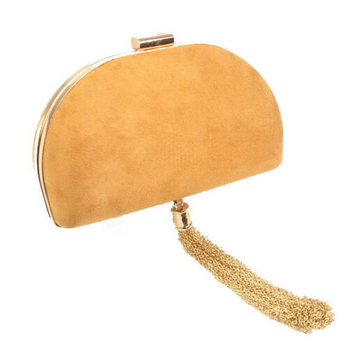 Women/'s Faux Suede Box Clutch With Chain Tassel Drop