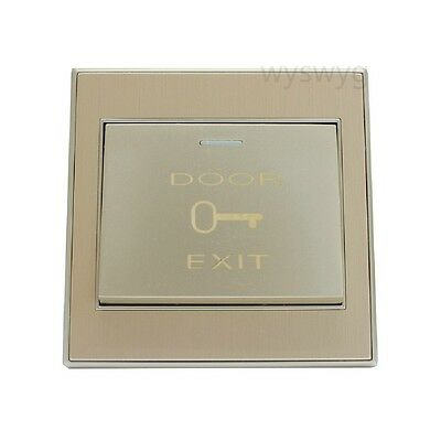 Wall Exit Push Release Button Gold Switch For Door Access Control