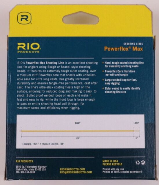 """RIO .024IN/"""" POWERFLEX MAX TRADITIONAL SPEY FLOATING SHOOTING FLY LINE 6-7 WT."""
