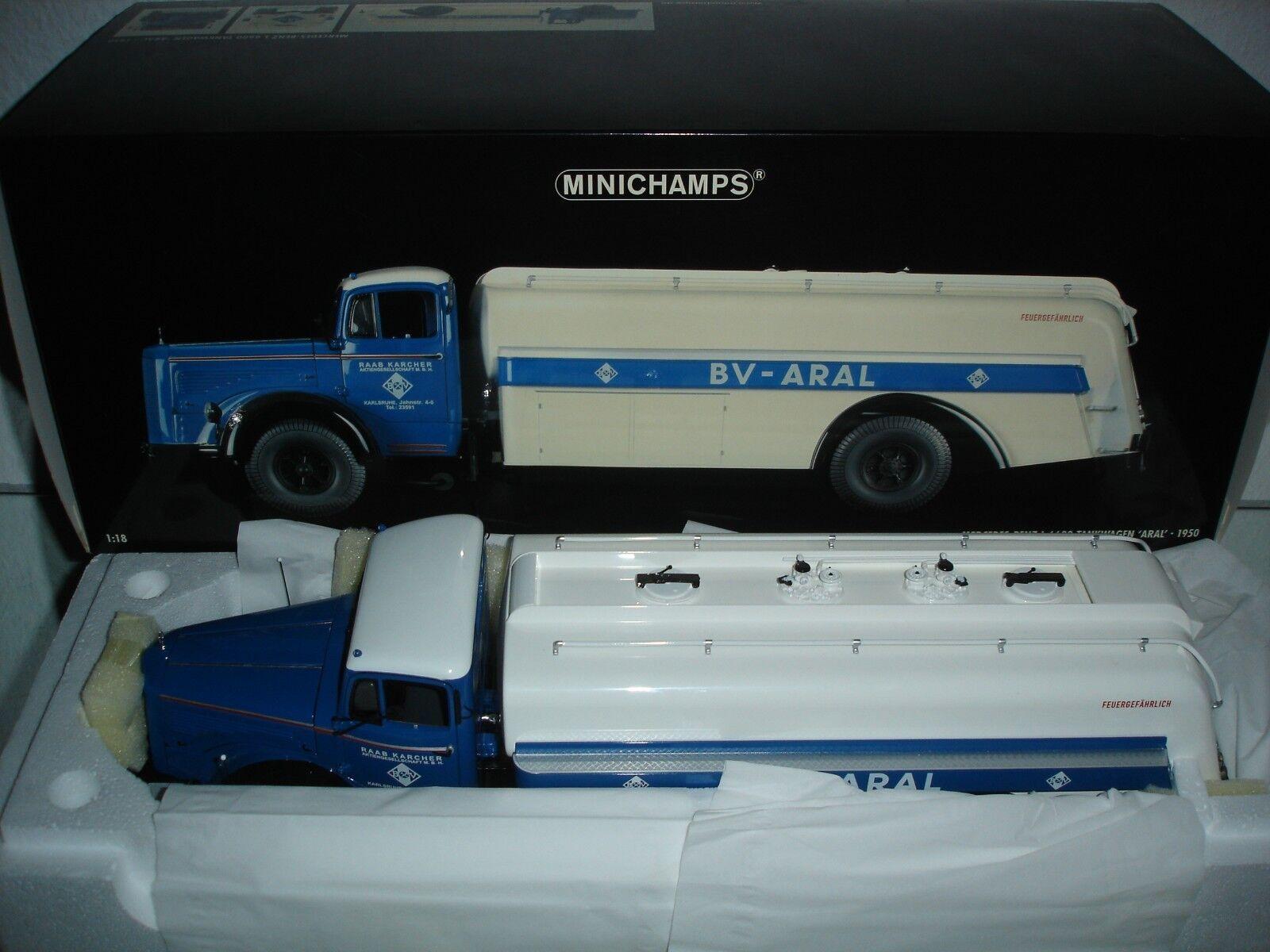 Minichamps 1 18 MERCEDES BENZ L 6600 autocisterna Aral 1950 NUOVO