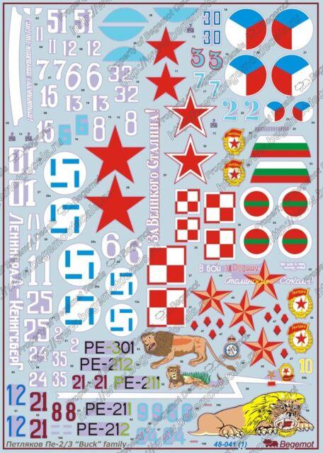 1:48 Begemot Decals #48-041  Petlaykov Pe-2 Pe-3 /'Buck/' family
