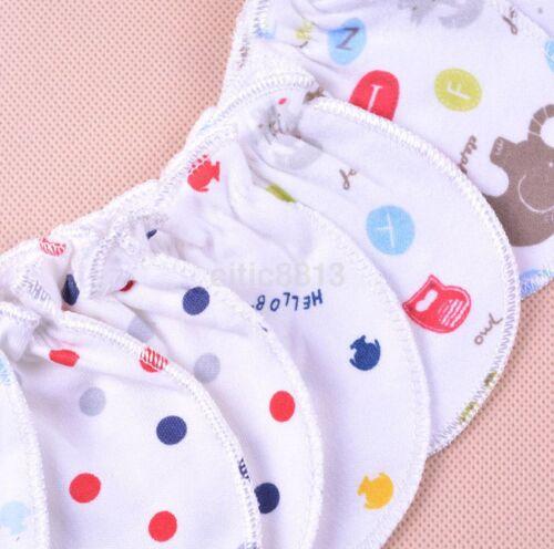 6pcs Anti Scratch Mittens Infant Soft Cotton Handguard Gloves For Newborn Baby