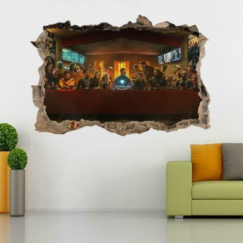 Avengers The Last Supper 3D Smashed Wall Sticker Decal Art Mural Marvel J1415