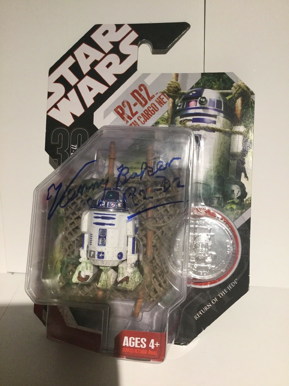 Star Wars Return of the Jedi R2-D2 Figure Signed by Kenny Baker w COA and pic