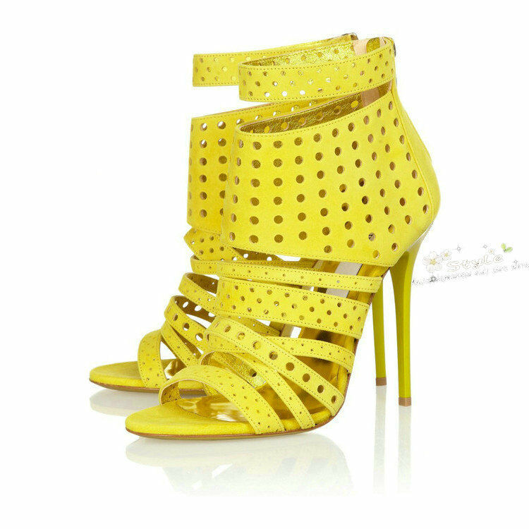 femmes Open Toe Sitlettos Hollow Ankle bottes Sexy High Heel chaussures Lady Roma Taille
