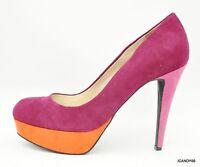 By Guess Vabii Round Toe Suede Platform Pump Heel Shoe Pink/orange 9.5