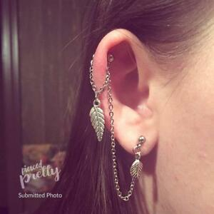 pearl chain earring Helix to Lobe chain earring helix earring handmade jewelry