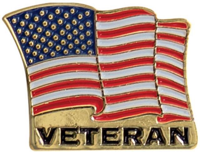 Veteran USA American Wavy Flag Lapel Pin