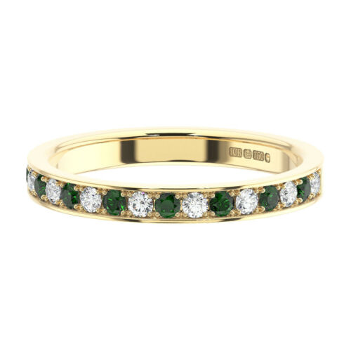 0.35 Ct Pave Set Round Diamonds and Emerald Half Eternity Ring in 9K Gold