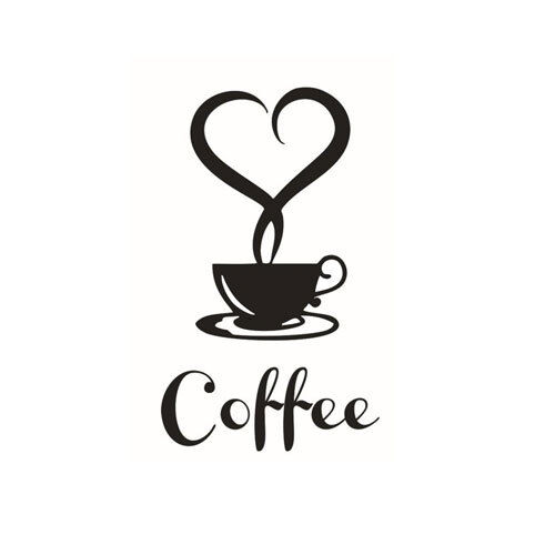 Removable DIY Kitchen Decor Coffee Cup Decals for Window Wall Store Shop Door