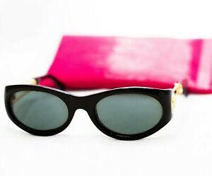 GIANNI-VERSACE-Sunglasses-429-black-gold-safety-pin-medusa-vintage-oval-women