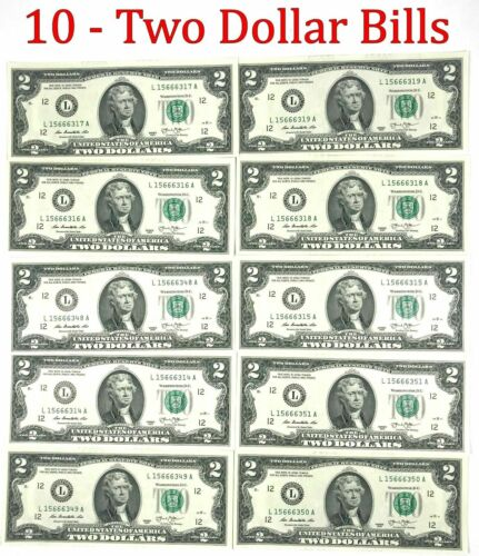 10 Consecutive Serial # Uncirculated $2 Bills Two Dollar Bills