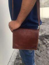 New Men Genuine Leather Mobile Brown Full Flap Shoulder Satchel Messenger Bags