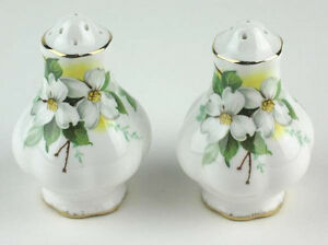Salt-Pepper-Shaker-Set-Royal-Albert-White-Dogwood-vintage-England