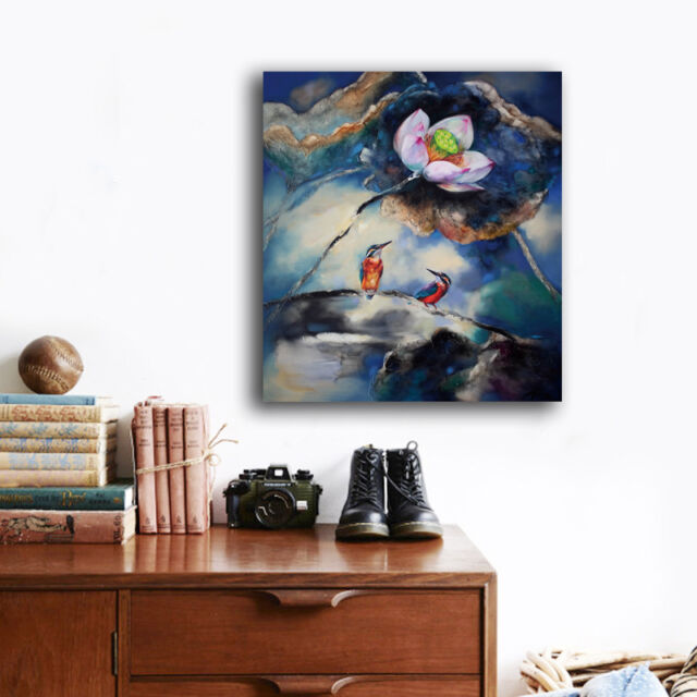 70×80×3cm Colorful Lotus Birds Canvas Print Framed Wall Art Home Decor Painting