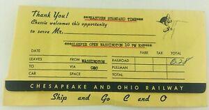 Vintage Chesapeake & Ohio Railway Ticket Holder Washington D.C.