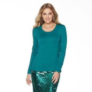 NENE-by-Nene-Leakes-Women-039-s-Long-Sleeves-Round-Neck-Solid-Top-X-Small-Size-HSN