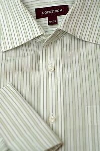 Nordstrom-Men-039-s-White-amp-Gold-Stripe-Cotton-Dress-Shirt-16-5-x-35