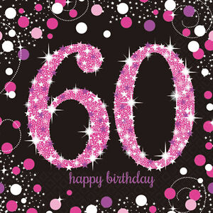 Image Is Loading 16 X Pink Celebration Age 60 Napkins