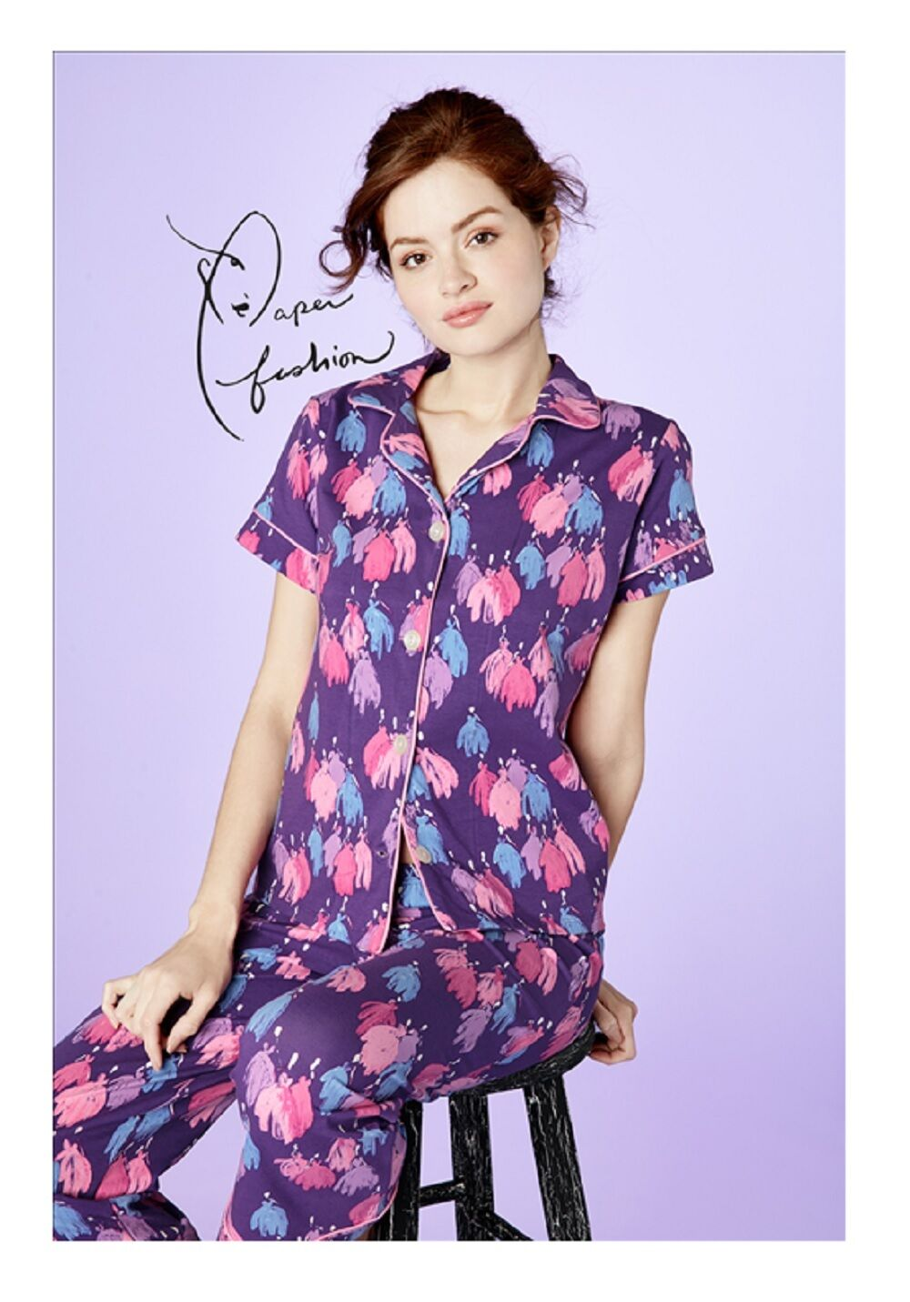 BedHead Purple Belle Of The Ball Stretch S S Cropped PJ Set 1094-SE6-2849