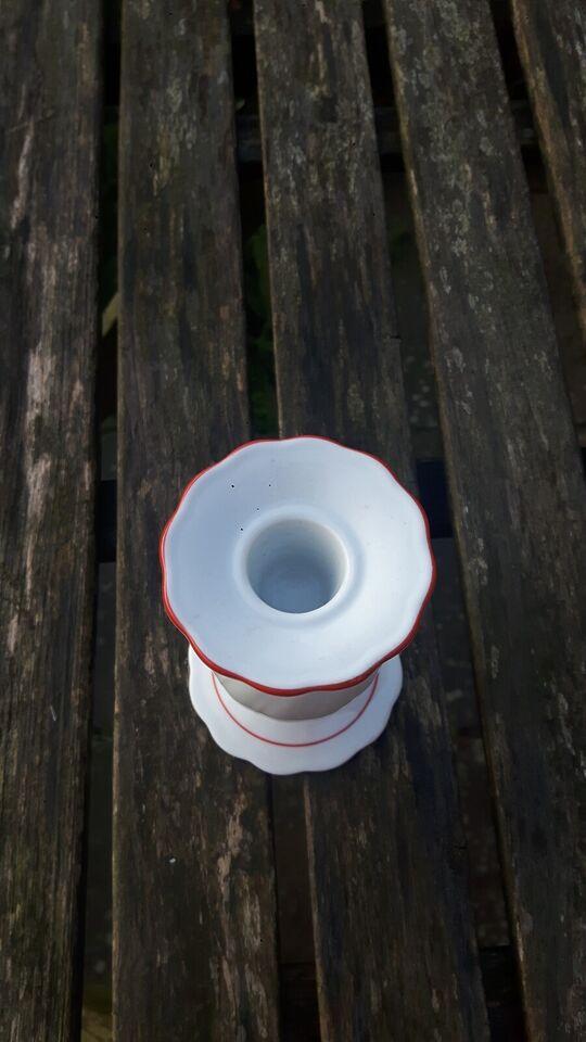 Porcelæn, Lysestage, hvid/rød porcelæn