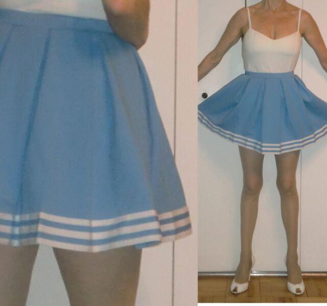 VTG CUSTOM MADE RETRO BLUE & WHITE STRIPES MINI SKIRT PLEATED DANCE COSTUME S XS