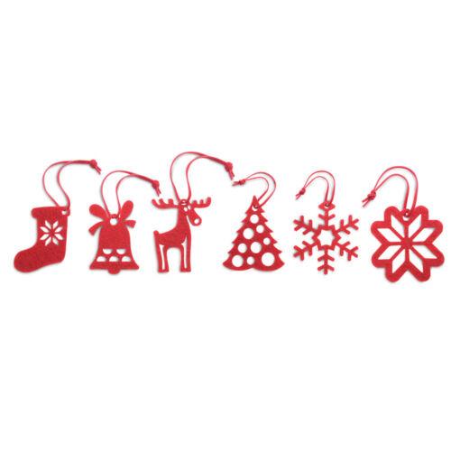 6 Rosso Feltro Albero Di Natale Appendini Decorazioni Renna In Magazzino Natale