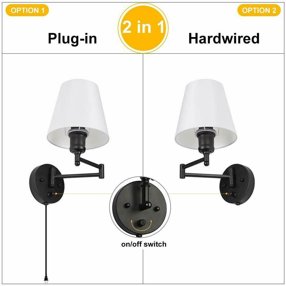 Modern Bedroom Swing Arm Wall Sconce Nightstand Lamp Reading Lamp Set Of 2 Gift For Sale Online